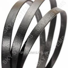 Flat leather cord | 10,0 x 2,0 mm, Colour: Black