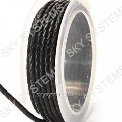 Leather wattled cord | 3,0 mm, Black