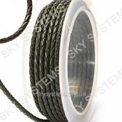 Кожаный плетеный шнур | 3,0 мм, Зеленый 43 | Скай