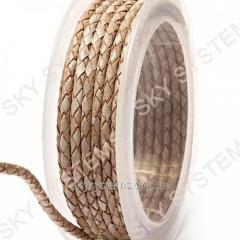 Кожаный плетеный шнур | 3,0 мм, Бежевый 09 |  Скай