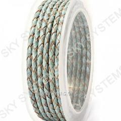 Кожаный плетеный шнур | 3,0 мм, Бирюзовый 38 | Скай