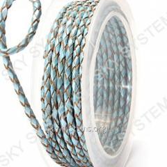 Кожаный плетеный шнур | 3,0 мм, Бирюзовый 45 | Скай