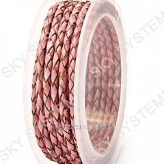 Leather wattled cord | 3,0 mm, Pink