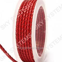 Кожаный плетеный шнур | 3,0 мм, Красный 44 | Скай