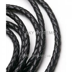 Leather wattled cord | 6,0 mm, Black | India