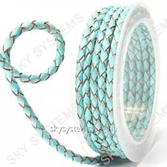 Leather wattled cord | 4,0 mm, Turquoise
