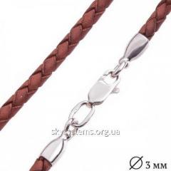 Кожаный коричневый шнурок с гладкой застежкой (3 мм)