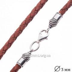 Кожаный коричневый шнурок с серебряной застежкой (3 мм)
