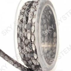 Круглый шнур из кожи питона 5 мм | Серый с белым