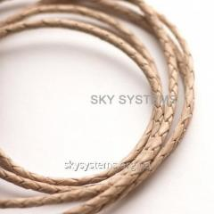 Leather wattled cord | 3,0 mm, Natural (Not