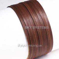 Leather band | 5,0 x 1,0 mm, Colour: Brown