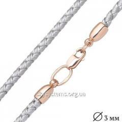 Кожаный серебряный шнурок с гладкой золотой застежкой (3мм)