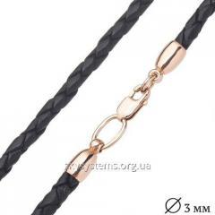 Кожаный черный шнурок с гладкой золотой застежкой (3мм)
