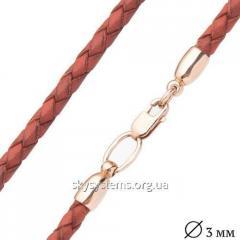 Кожаный коричневый шнурок с золотой гладкой застежкой (3мм)