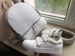 Gym shoes from genuine leather of a calf, white