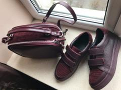 Gym shoes from genuine leather Marsala, Merle tm