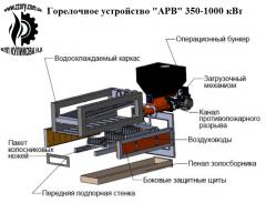 Pelletny torch of volume burning of 350-1000 kW