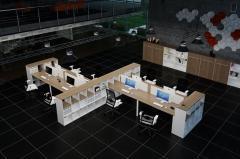 Мебель серии ONLINE для офиса типа OpenSpace: шкафы, тумбы и стеллажи