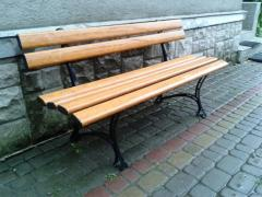 Plastic benches and benches with metal bases
