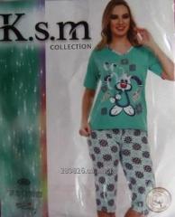 Пижама женская (футболка с бриджами)