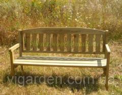 Скамейка дачная деревянная со спинкой, длина 170 см, Милан - 3