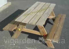 Столик детский со скамейками, деревянный