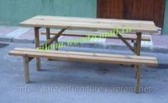 Стол со скамейками для дачи, кемпинга, дачная из хвойных пород