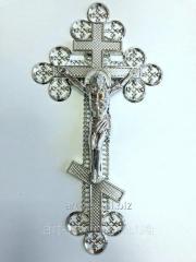"""Крест """"Ажурный"""" с распятием - металлизация серебро"""