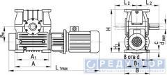 Червячный мотор-редуктор МЧ-200М, МЧ-250М, МЧ-320М, МЧ-400М, МЧ-500М с опорными лапами