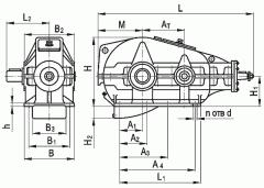 Редуктор коническо-цилиндрический горизонтальный двухступенчатый типа КЦ1, КЦ1-М