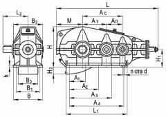 Редуктор коническо-цилиндрический горизонтальный двухступенчатый типа КЦ2, КЦ2-М