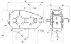 Хоризонтална цилиндрична тристепенна редуктор тип RM, RM-м