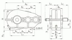Хоризонтална цилиндрична тристепенна редуктор тип RC, RC-м