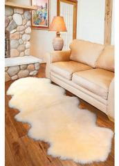 Carpet from 2 sheep skins, white, the size 2.0 x