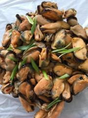 Mussels in oil with spices salad of own production