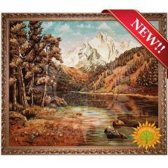 Картина горный пейзаж из янтаря