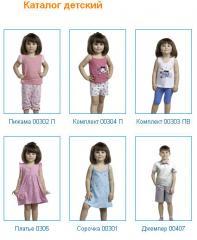Каталог одежды детский: Пижама 00302 П, Комплект 00304 П, Комплект 00303 ПВ, Платье 0305, Сорочка 00301, Джемпер 00407, Хлопок 100%