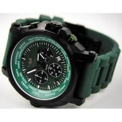 Часы мужские хронограф Flieger зеленые 37865A