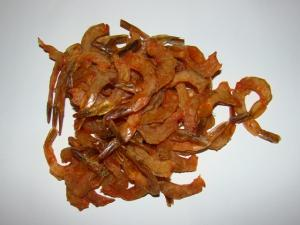Shrimps dried. Salty seafood.