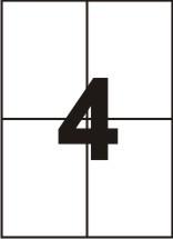 Самоклейка А4 -105*149 (4 на листе). Производство от 5 пачек. Срок изготовления 2-3 дня.