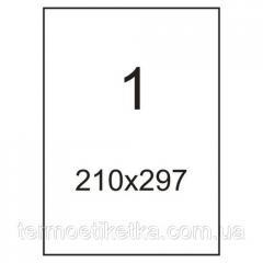 Самоклейка A4 (210x297), 1 на листе -100 листов