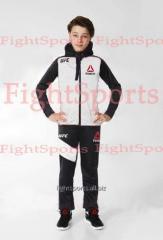 Детский спортивный костюм UFC REEBOK Kids WHITE - логотипы ВЫШИТЫЕ!!!