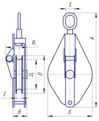 Odnorolnyj монтаж блок с връзка товар капацитет 2Т