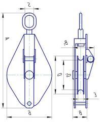 Odnorolnyj монтаж блок с връзка товар капацитет 3.2 т