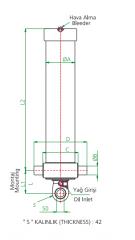 Гидроцилиндр 3-х штоковый длина 1 штока 1193 мм