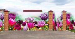 Photogrid on a fence, an arbor, a decor of facades