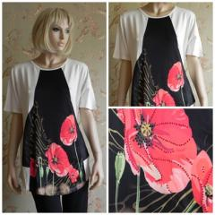 Tunic with a print N3878 poppies