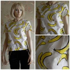Футболка женская белая бананы, арт. N4116