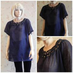 Blouse blue with a short sleeve and N4160...