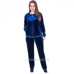 Костюм велюровый женский синий с камнями